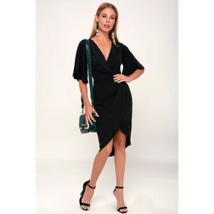 DULCET WASHED BLACK SURPLICE MIDI DRESS